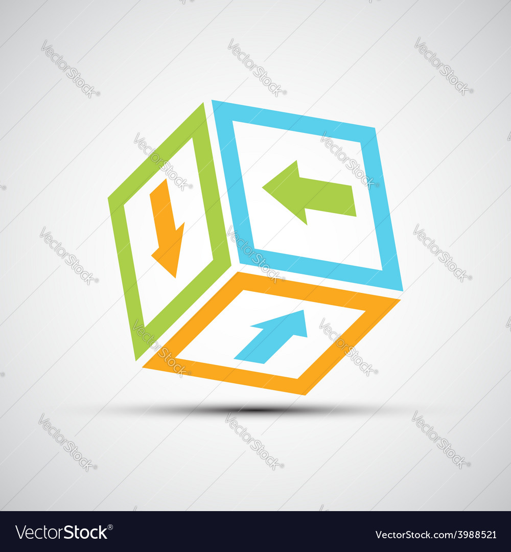 Vektor icon Cube with colored arrows vector image