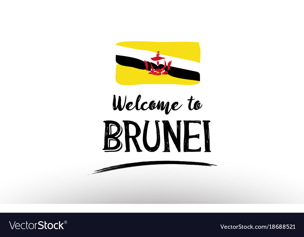 Welcome to brunei country flag logo card banner