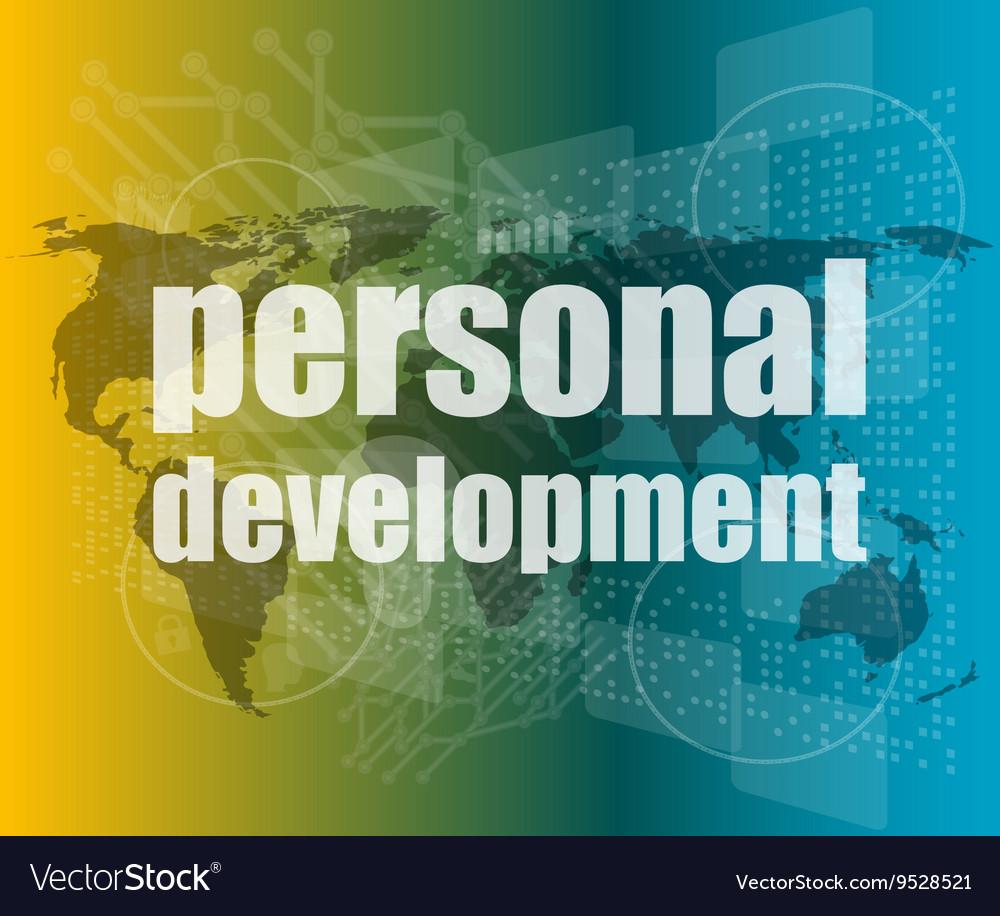 Word personal development on digital screen 3d vector image