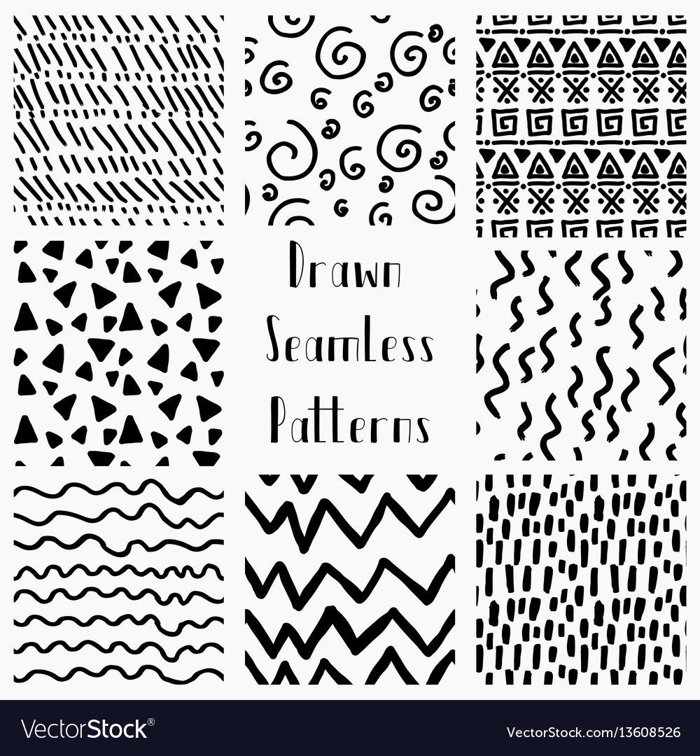 Abstract hand drawn black seamless patterns