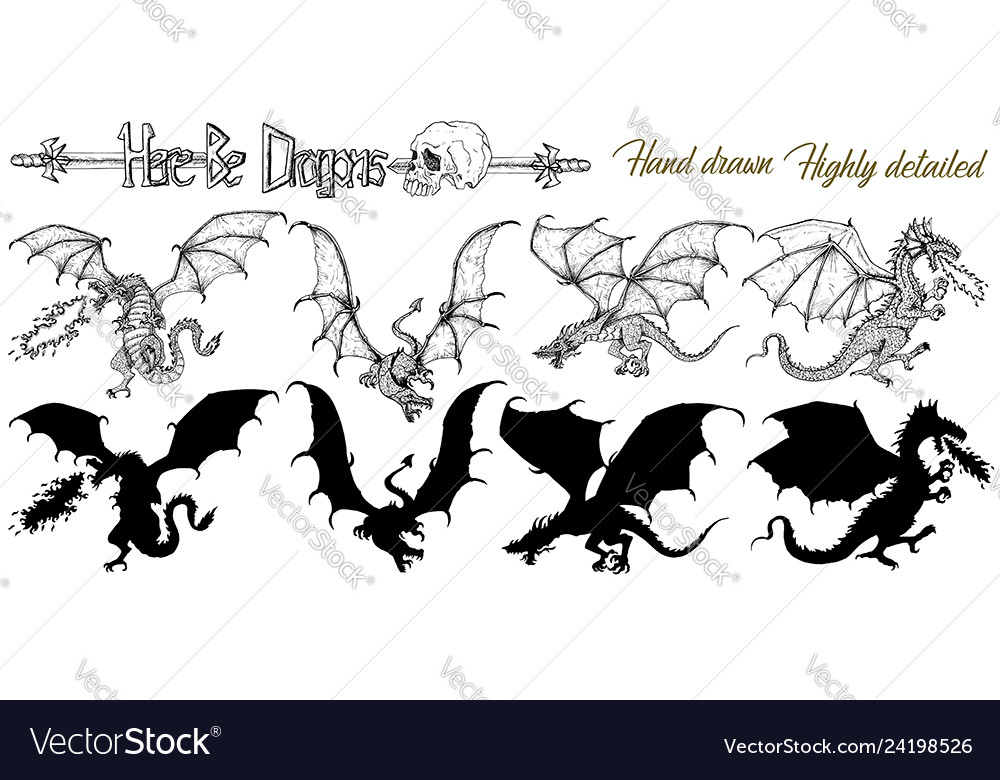 Design set with hand drawn dragons