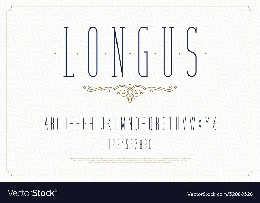 Elegant stylish font modern condensed typeface