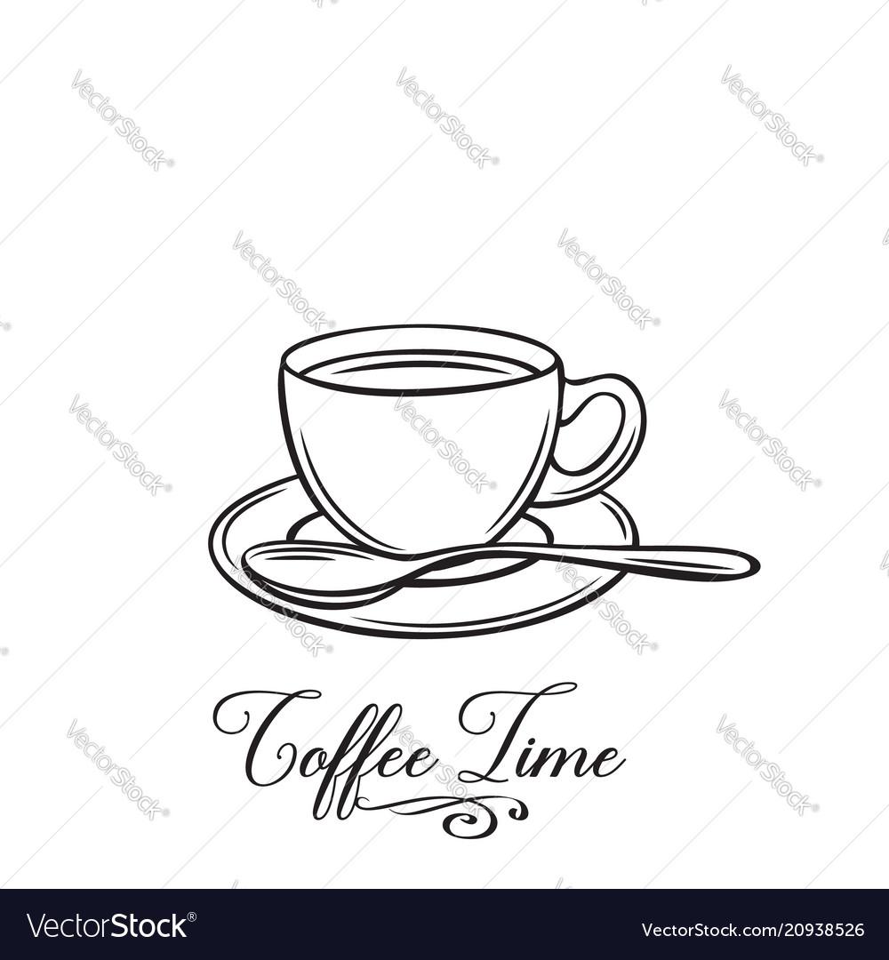 Hand drawn coffe cup badge
