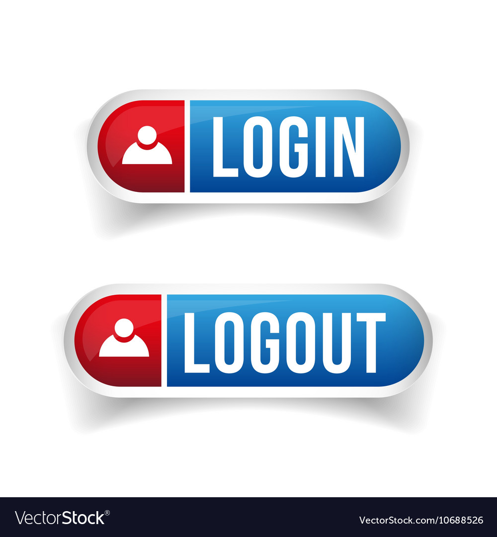 Login logout button set Royalty Free Vector Image