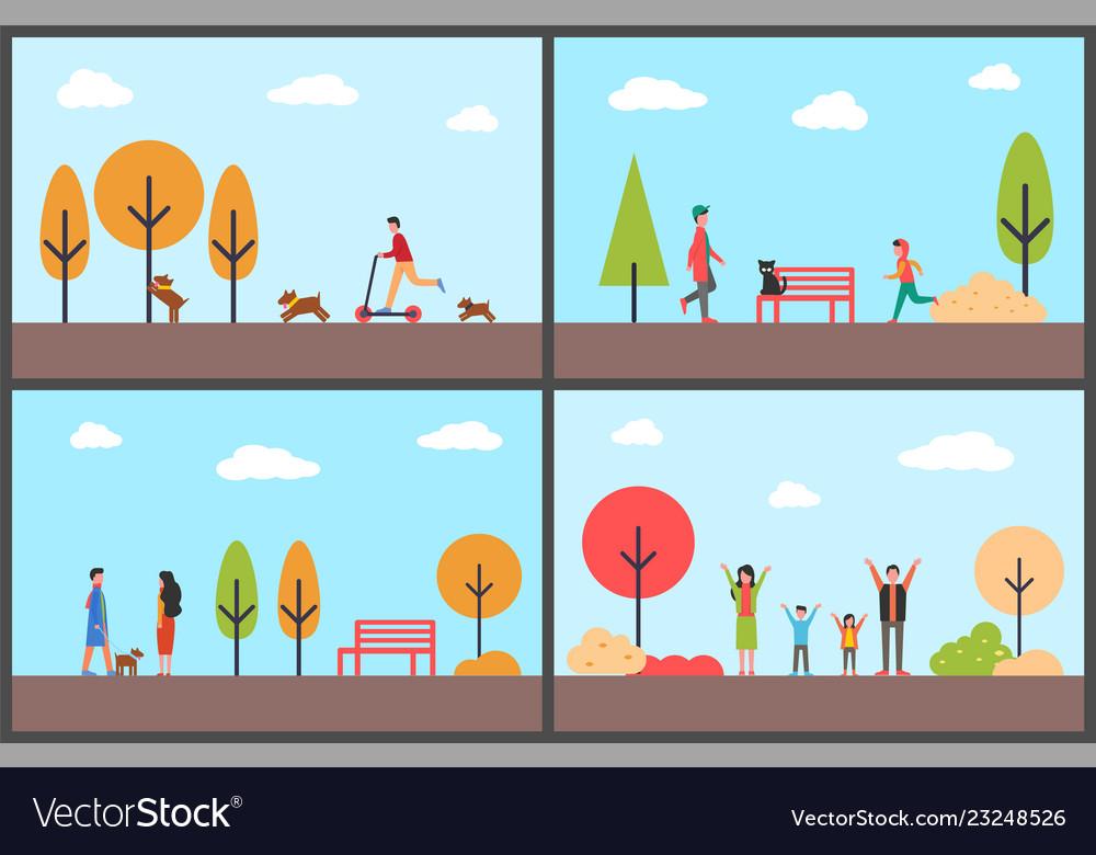 People having fun in autumn park family days
