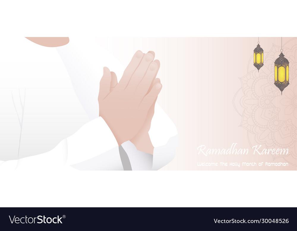 Ramadan kareem with muslim man praying