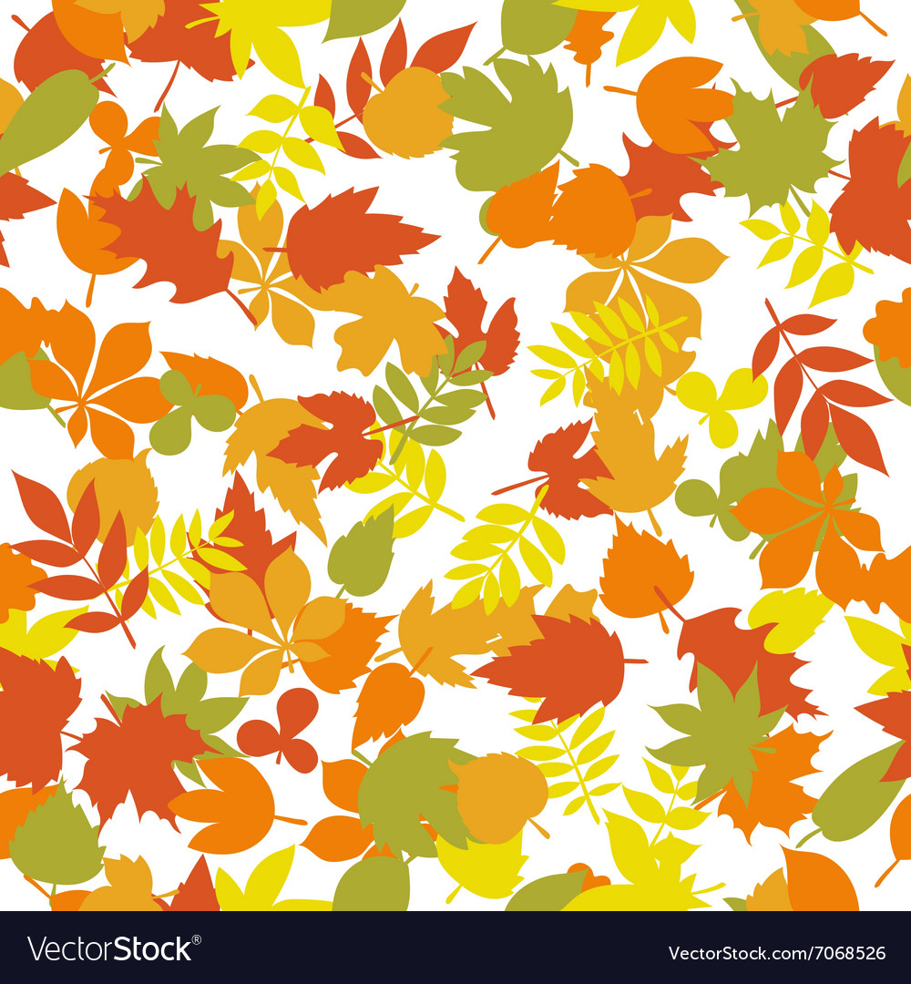 Seamless pattern with colorful autumn leaves on