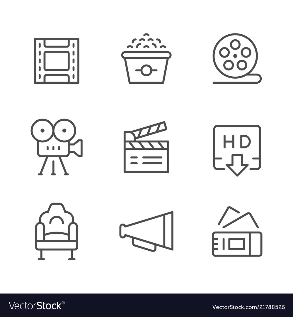 Set line icons of movie