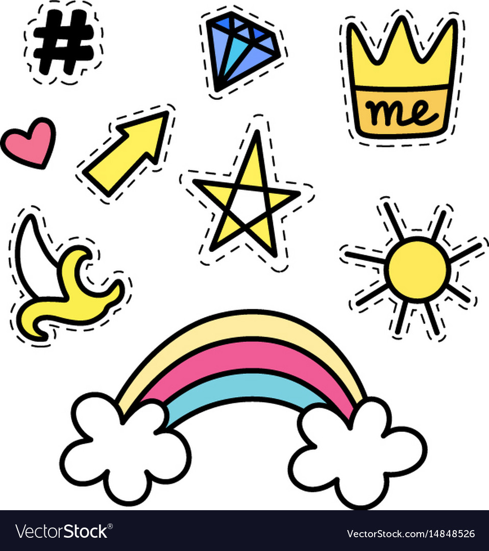 Set of fashion stickers with rainbow star crown