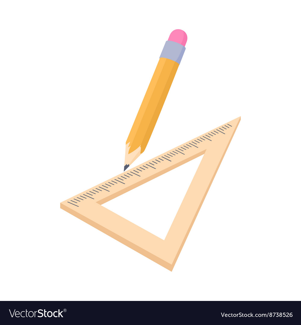 Triangular ruler and pencil icon cartoon style