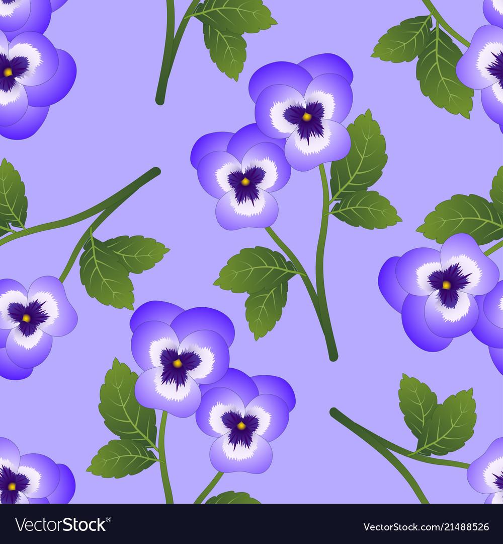 Violet Pansy Flower On Light Purple Background Vector Image