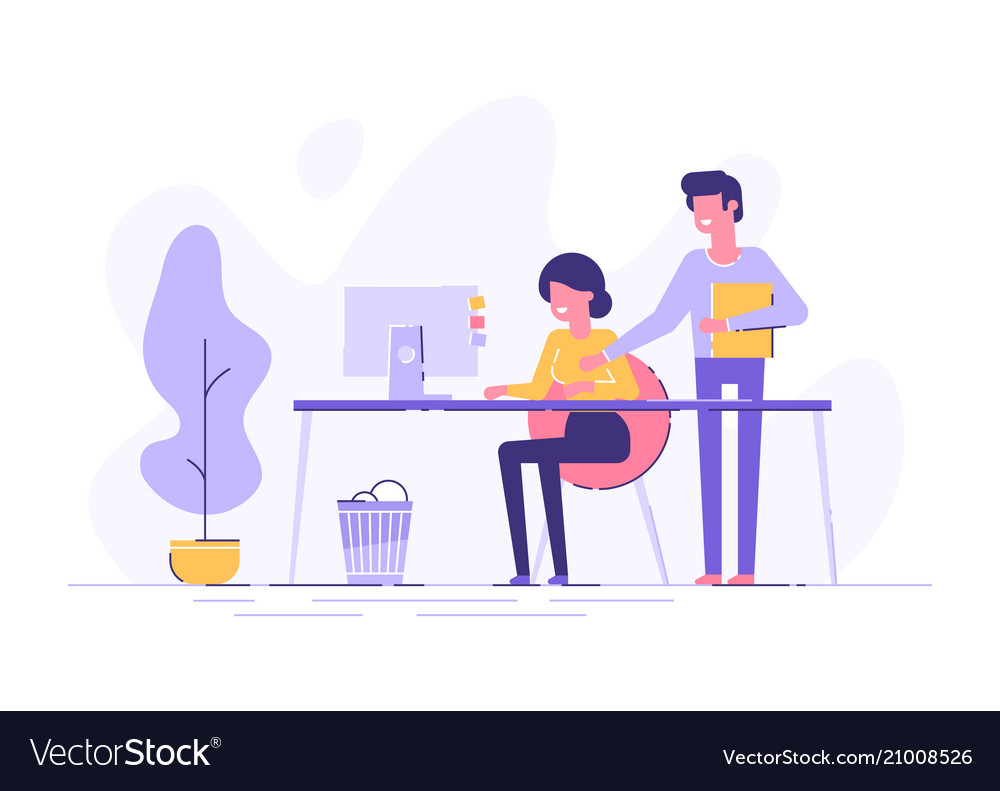 Young woman and her boss is pointing to a screen
