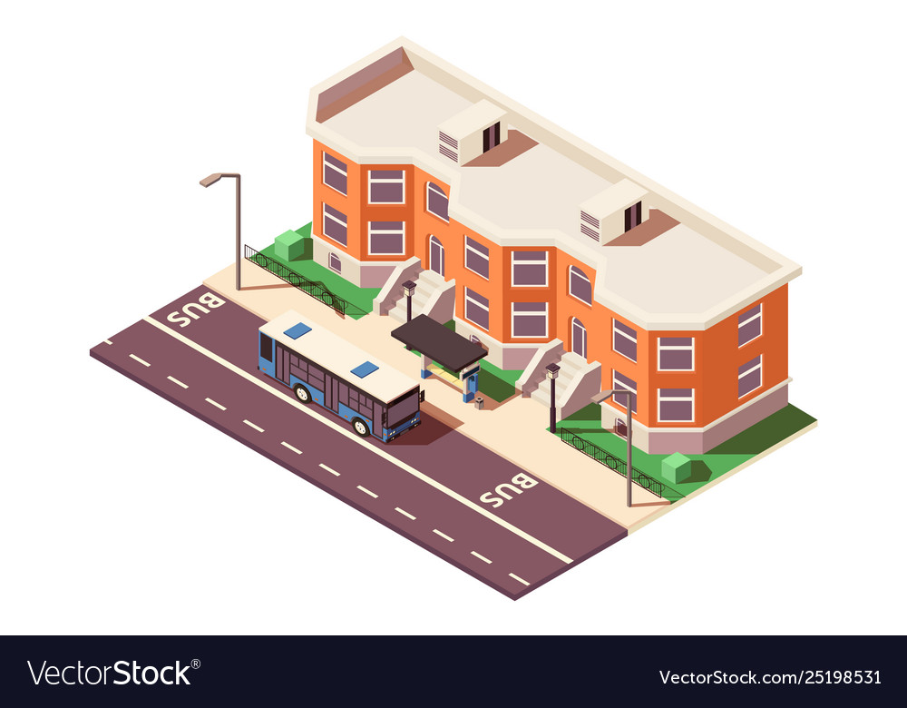 3d isometric bus stop in city near building and