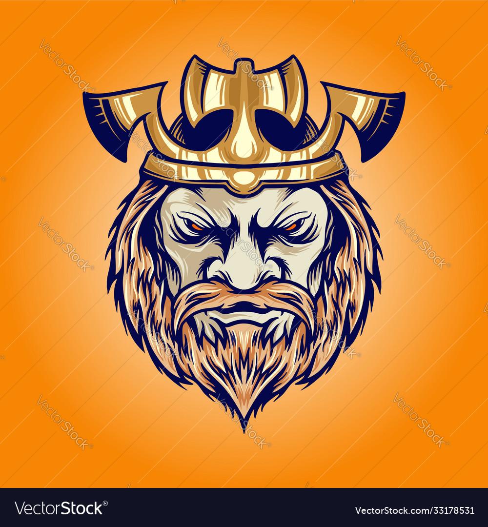 Axe crown king viking head cartoon