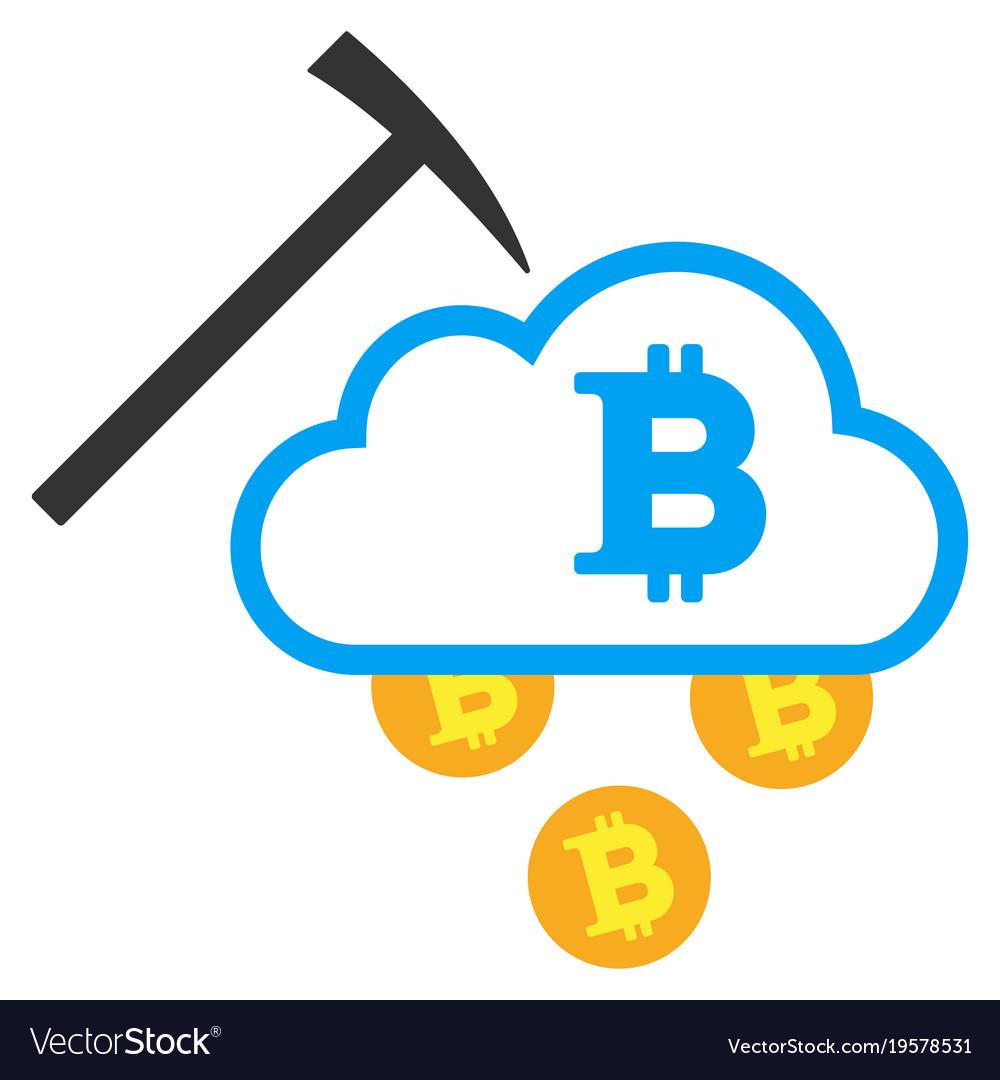 Bitcoin Cloud Mining >> Bitcoin Cloud Mining Flat Icon Royalty Free Vector Image