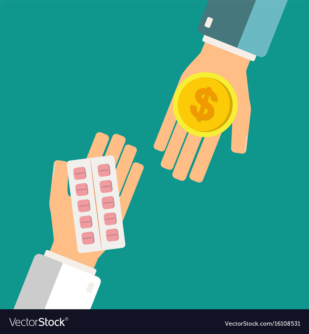 Buying pills in blister pack for money coin vector image