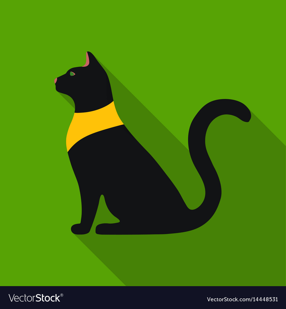 Cat Goddess Bastet Icon In Flat Style Isolated On Vector Image