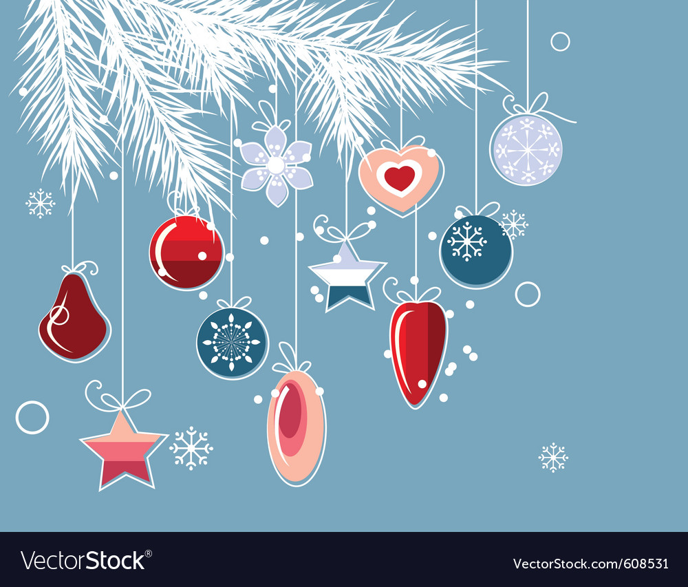 Christmas background with stylized contour balls