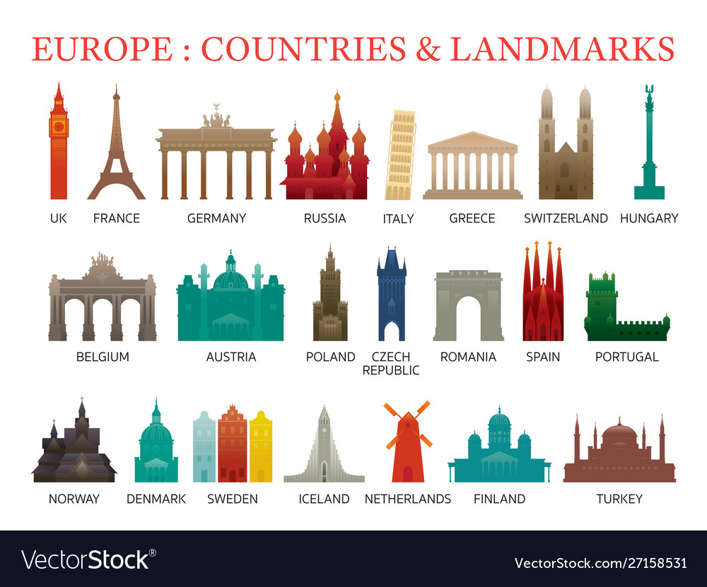 Europe countries landmarks colorful silhouette
