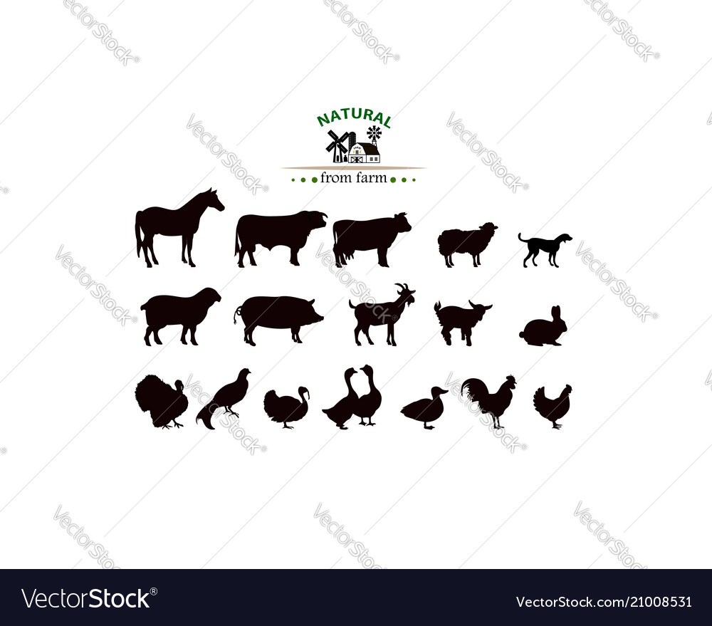 Farm animals silhouettes isolated