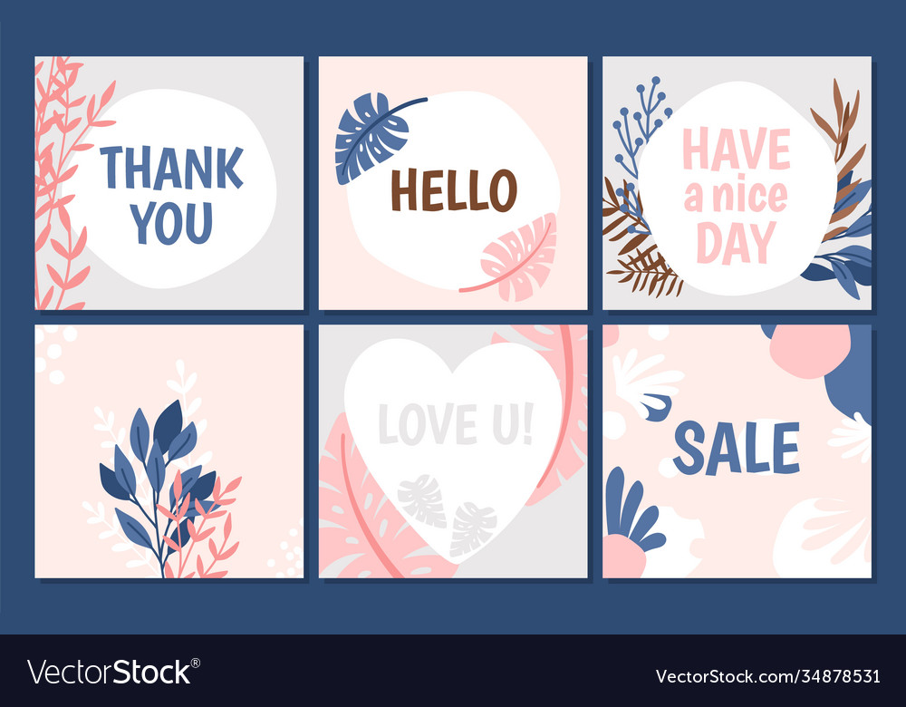 Floral trendy cards template