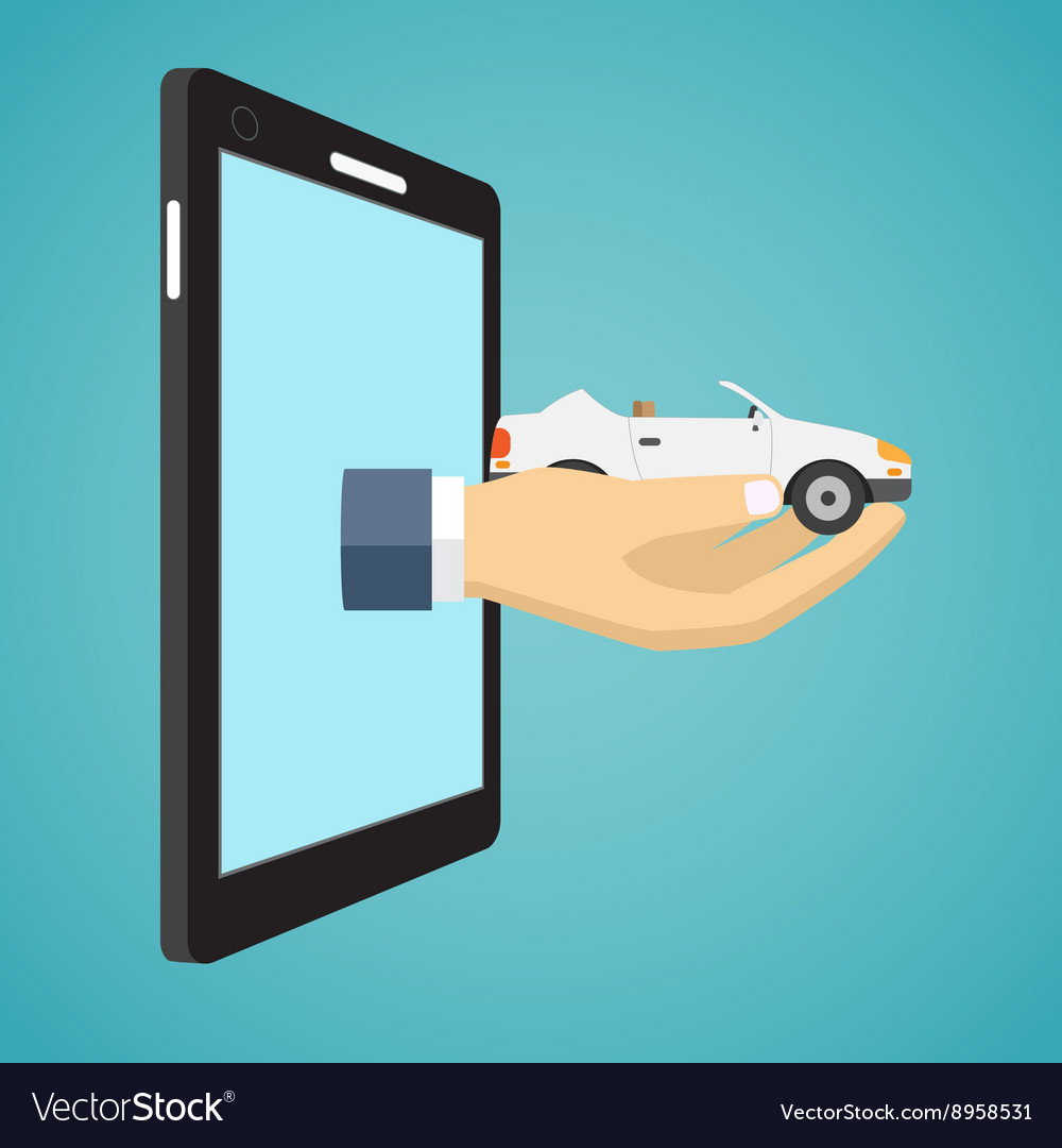Hand holding car from screen of smartphone