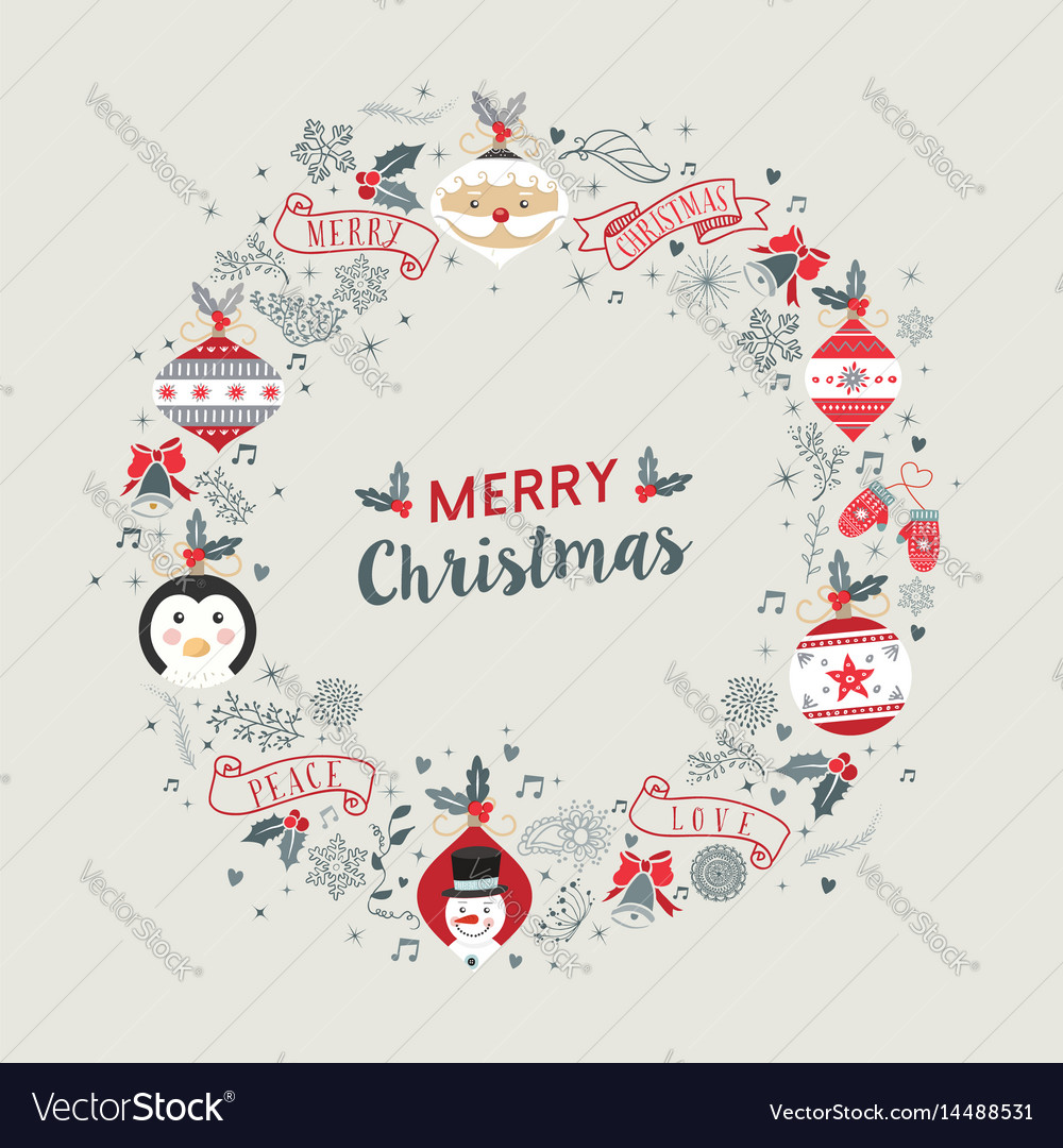 merry christmas vintage wreath frame decoration vector image