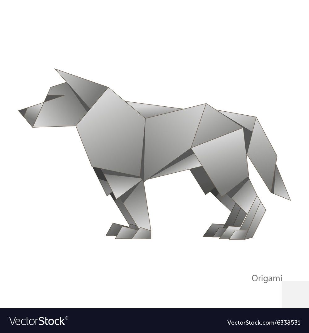 Origami Paper Wolf Royalty Free Vector Image Vectorstock