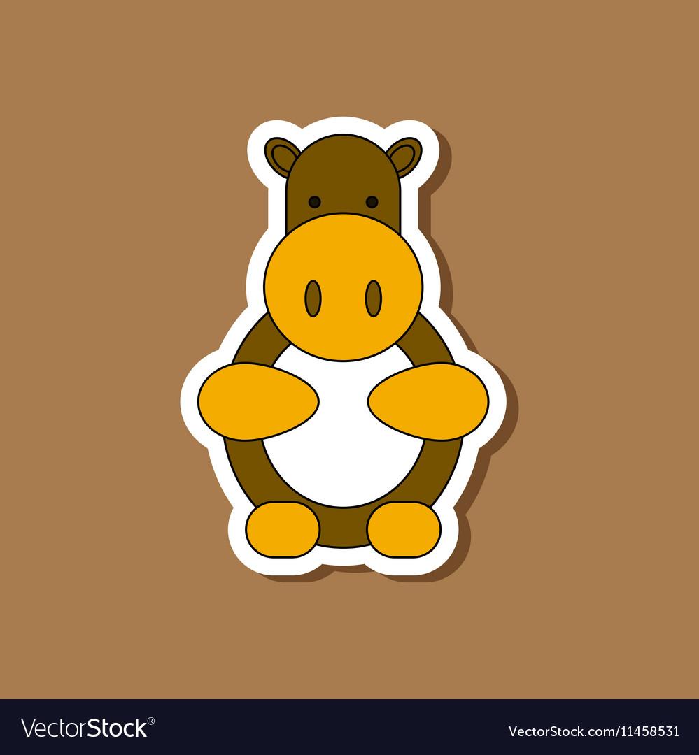 Paper sticker on stylish background Kids toy hippo