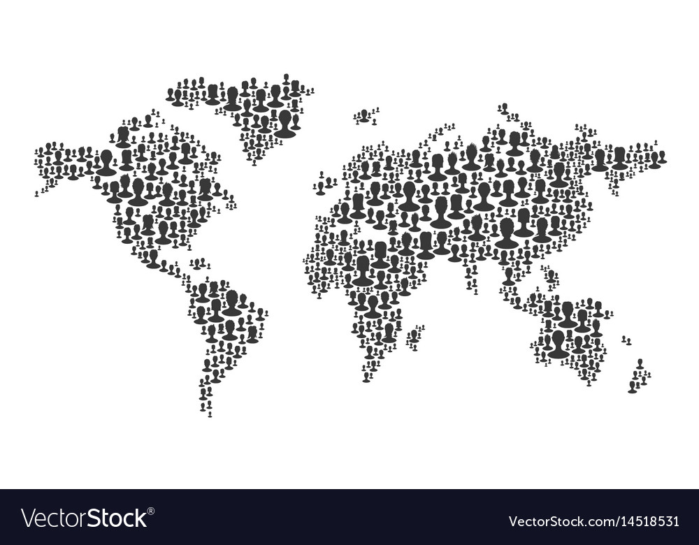 The map of the world made of people silhouettes