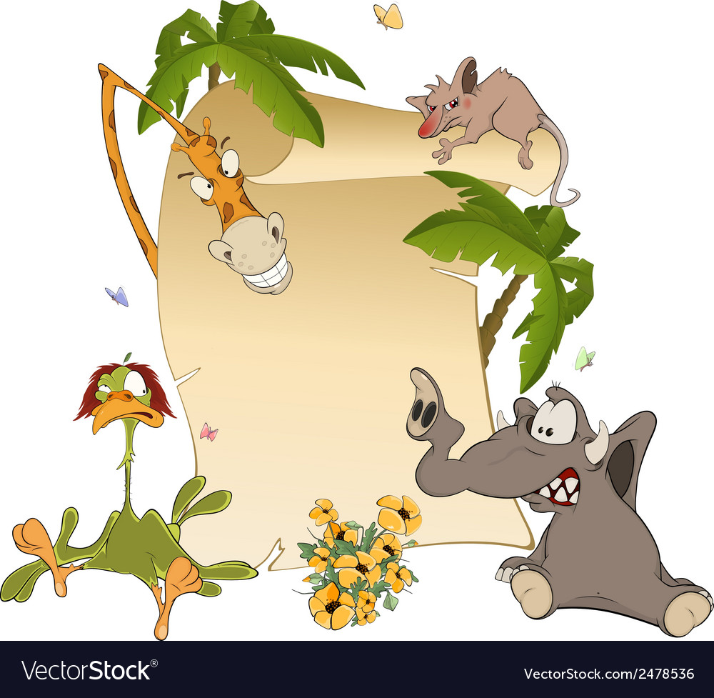 Animals With Blank Sign Board cartoon