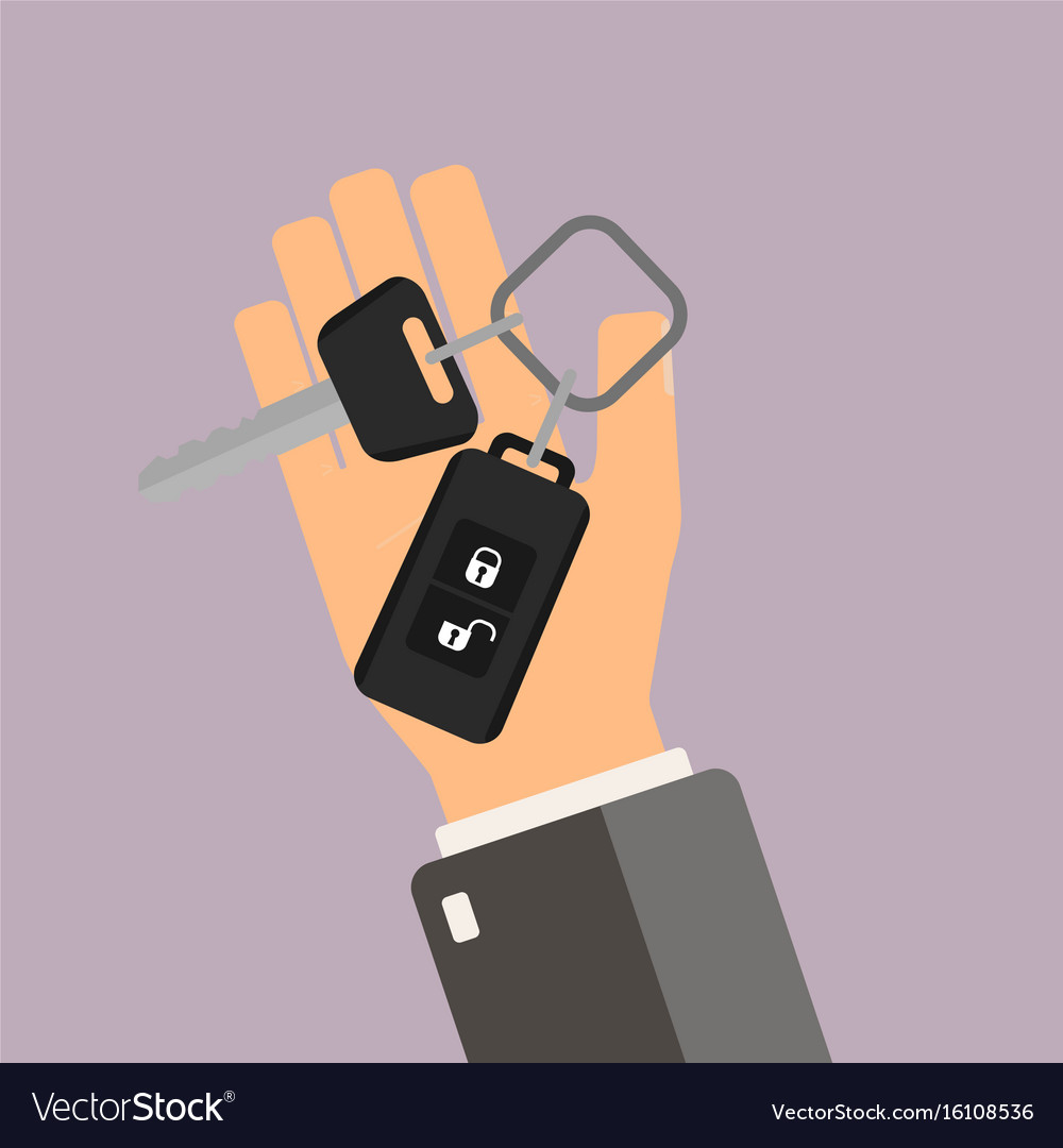 Car rental or sale concept hand hold car key vector image