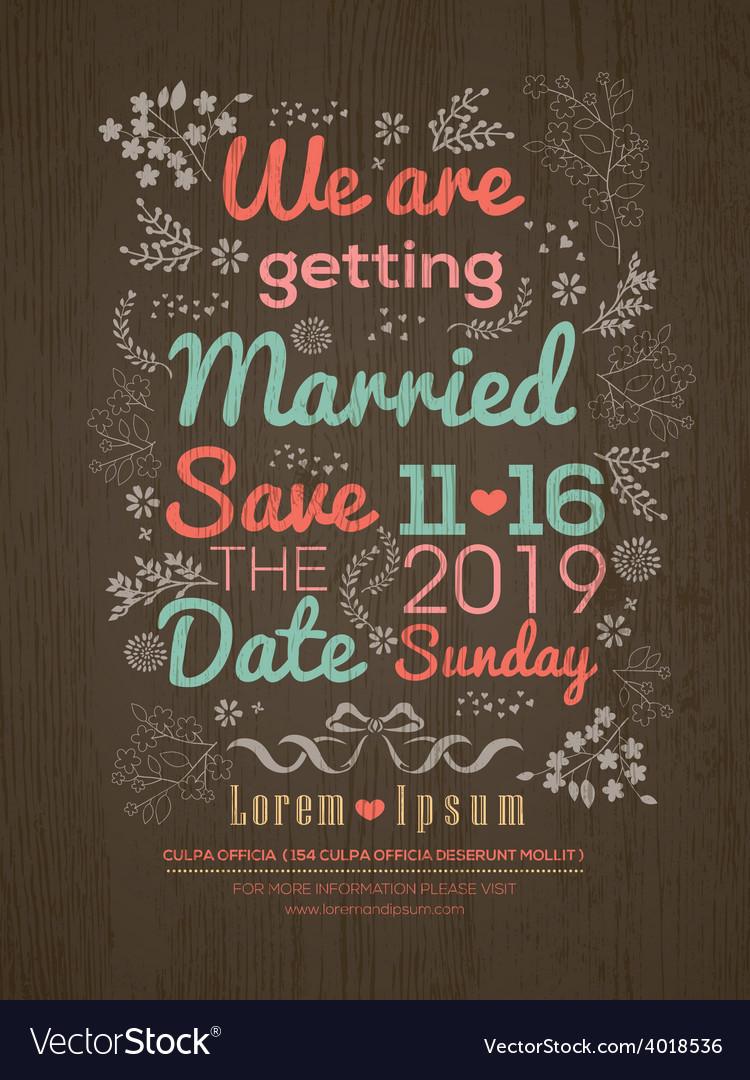 Floral Wedding invitation card design template