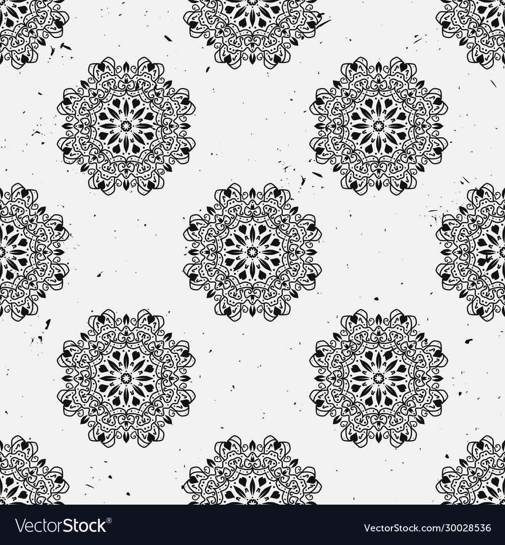 Grunge seamless pattern with round floral ornament