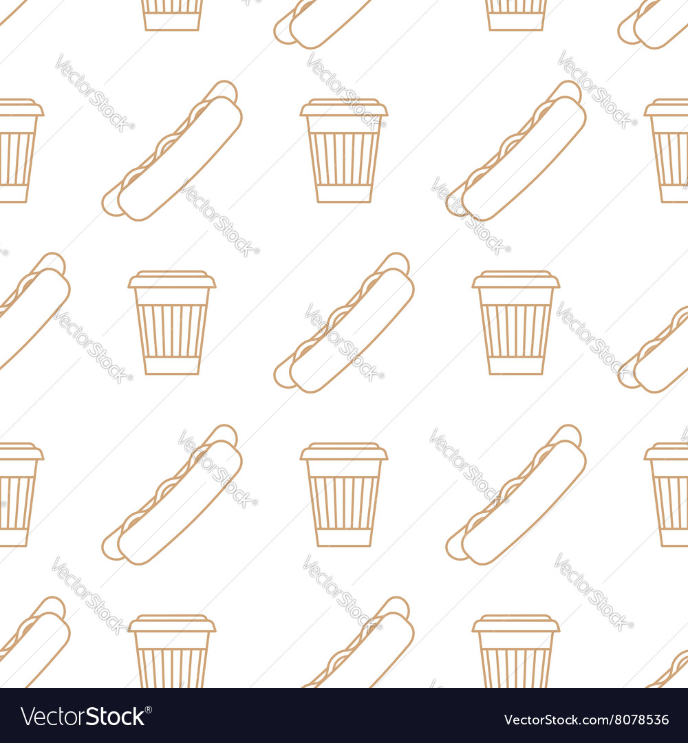 Hot dog coffee hot paper cup outline seamless