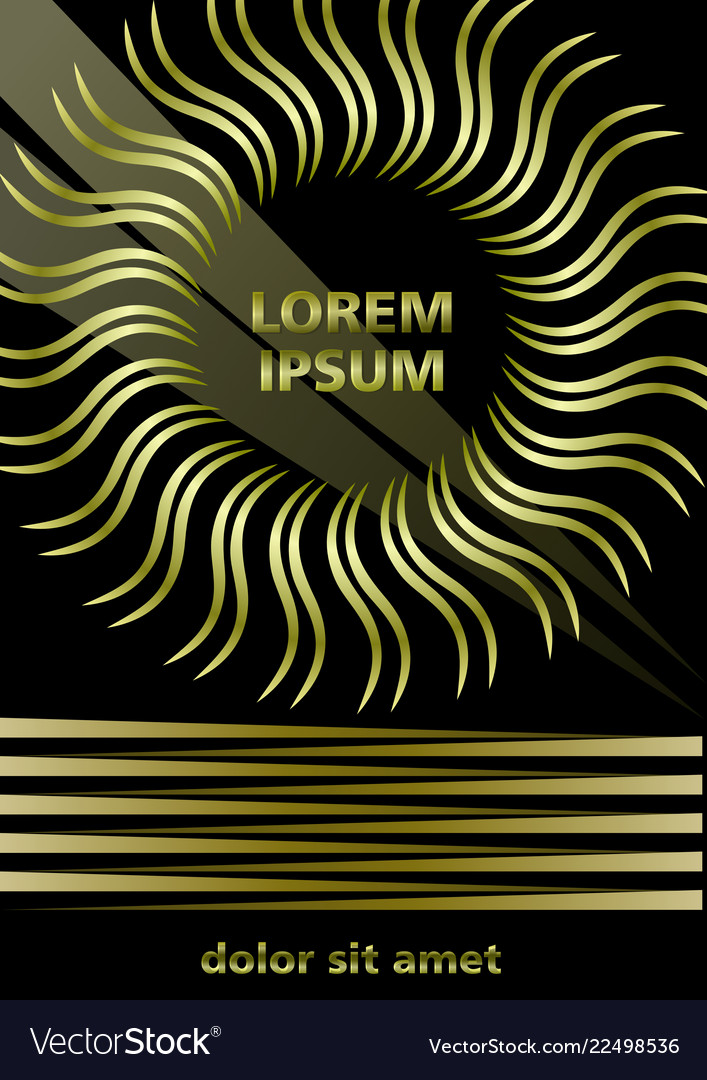 Luxurious cover design in gold and black sun