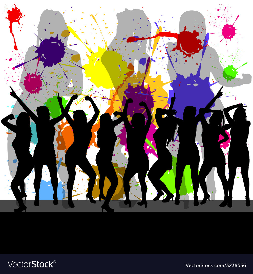 Party with girl silhouette and color background vector image