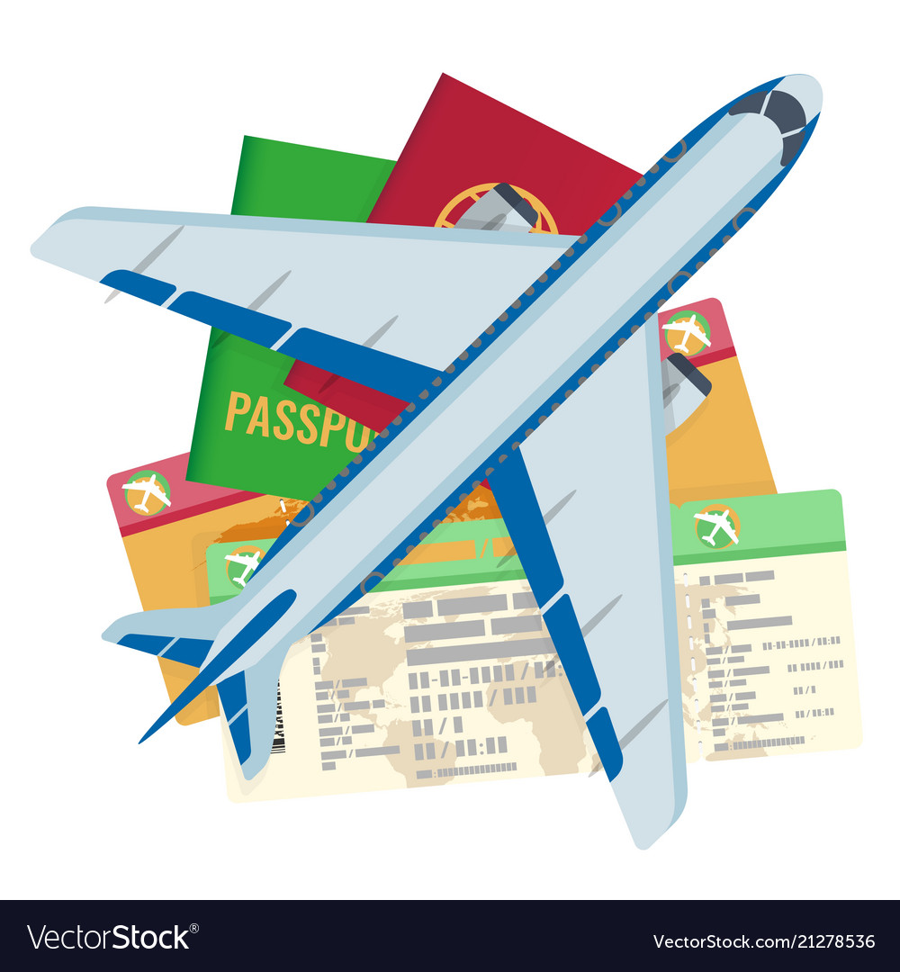 Passport tickets documents and airplane set