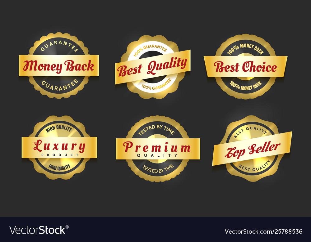 Realistic golden labels sale badges set