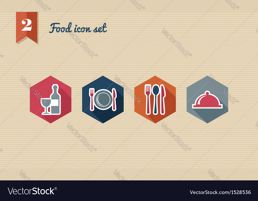 Restaurant food flat icons set