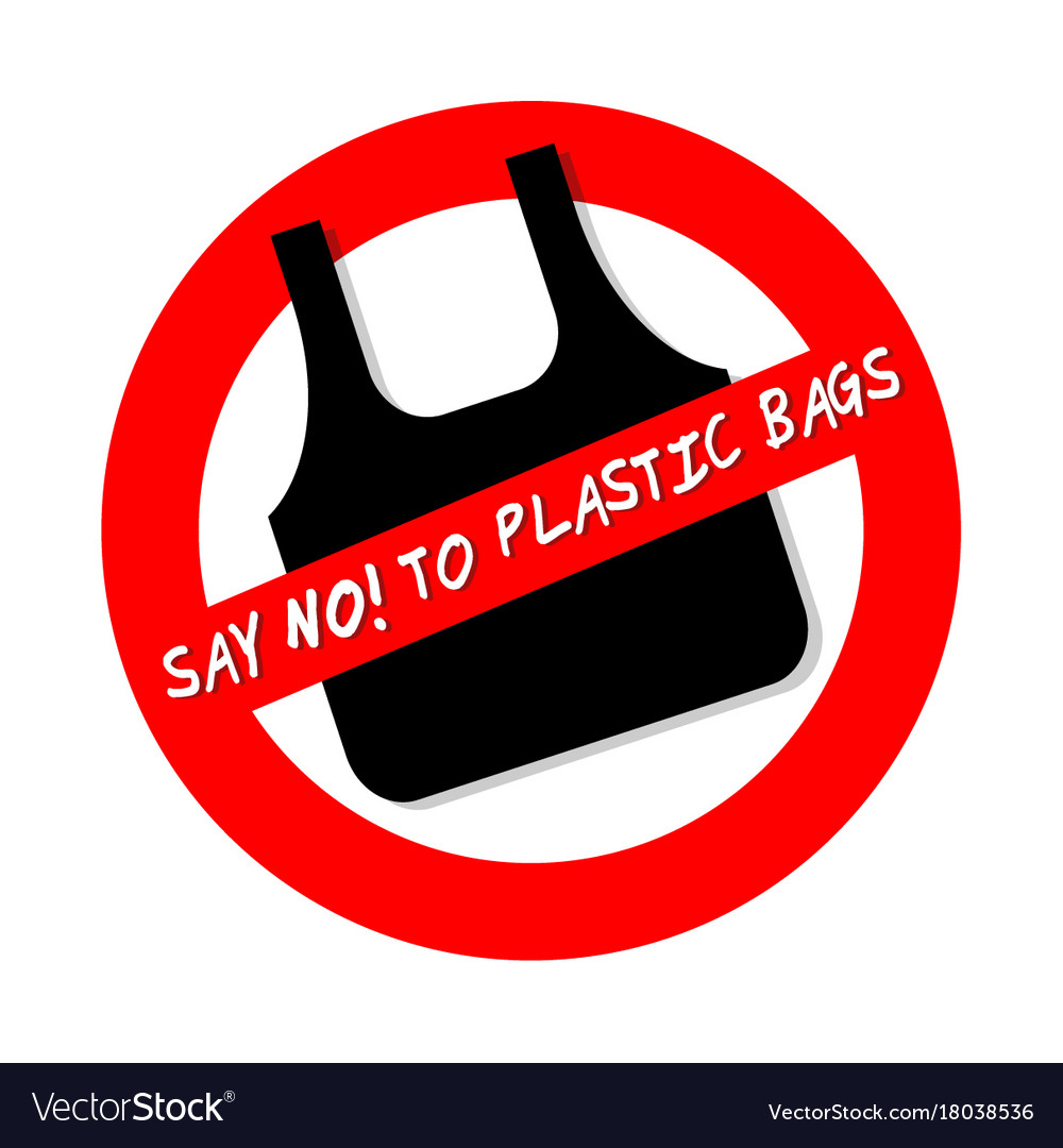 Say no to plastic bags ban sign icon isolated on