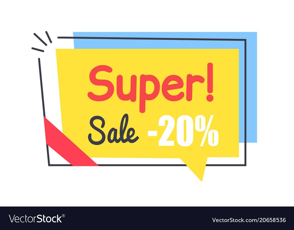 Super sale promo sticker in square shape frame tag