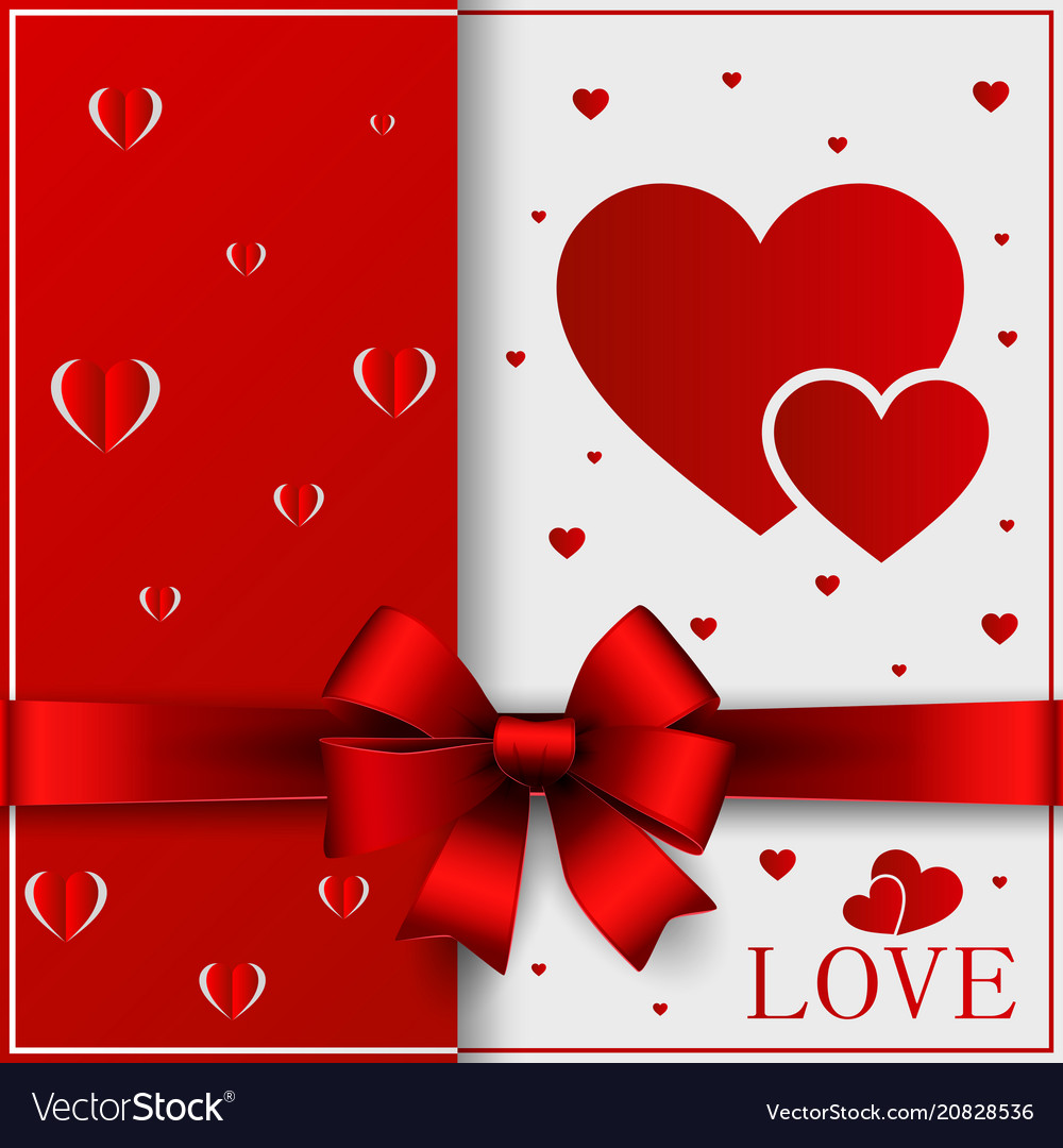 Valentines day greeting card ribbon red
