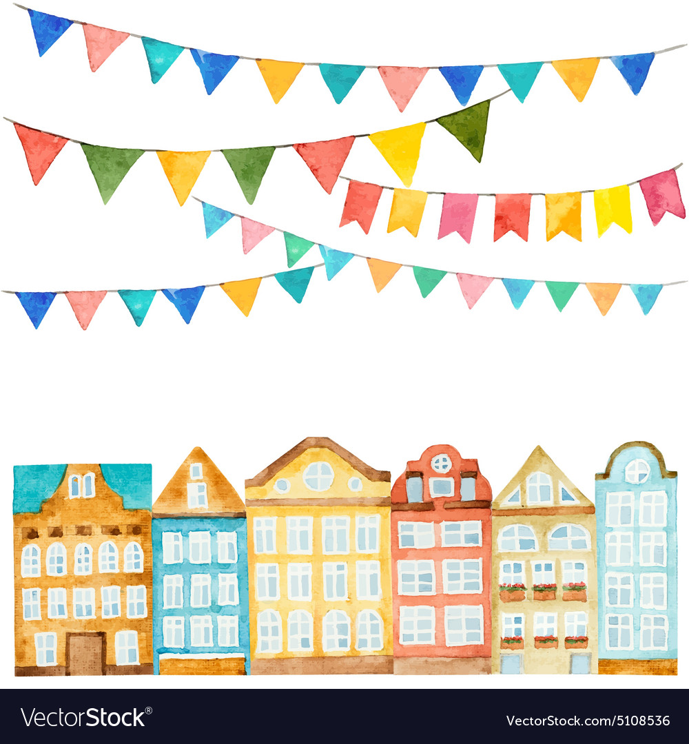 Watercolor of the house and flags vector image
