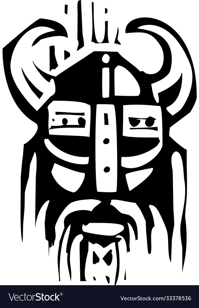 Woodcut viking face