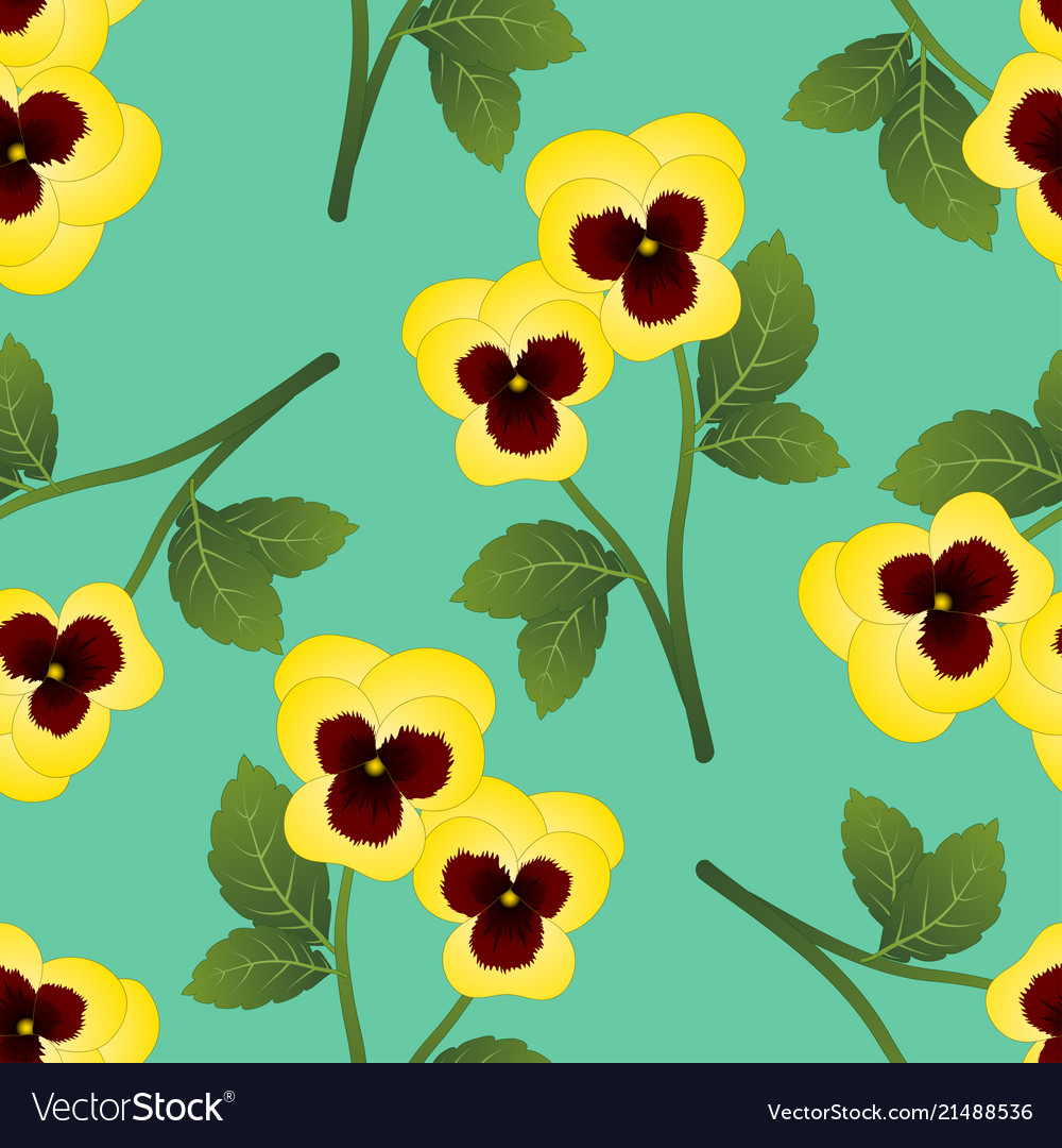Yellow Pansy Flower On Green Mint Background Vector Image