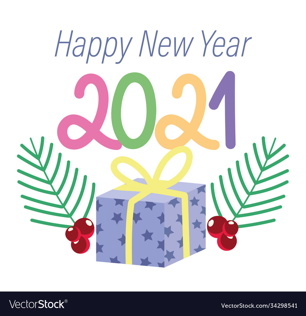 2021 happy new year gift box surprise and branch