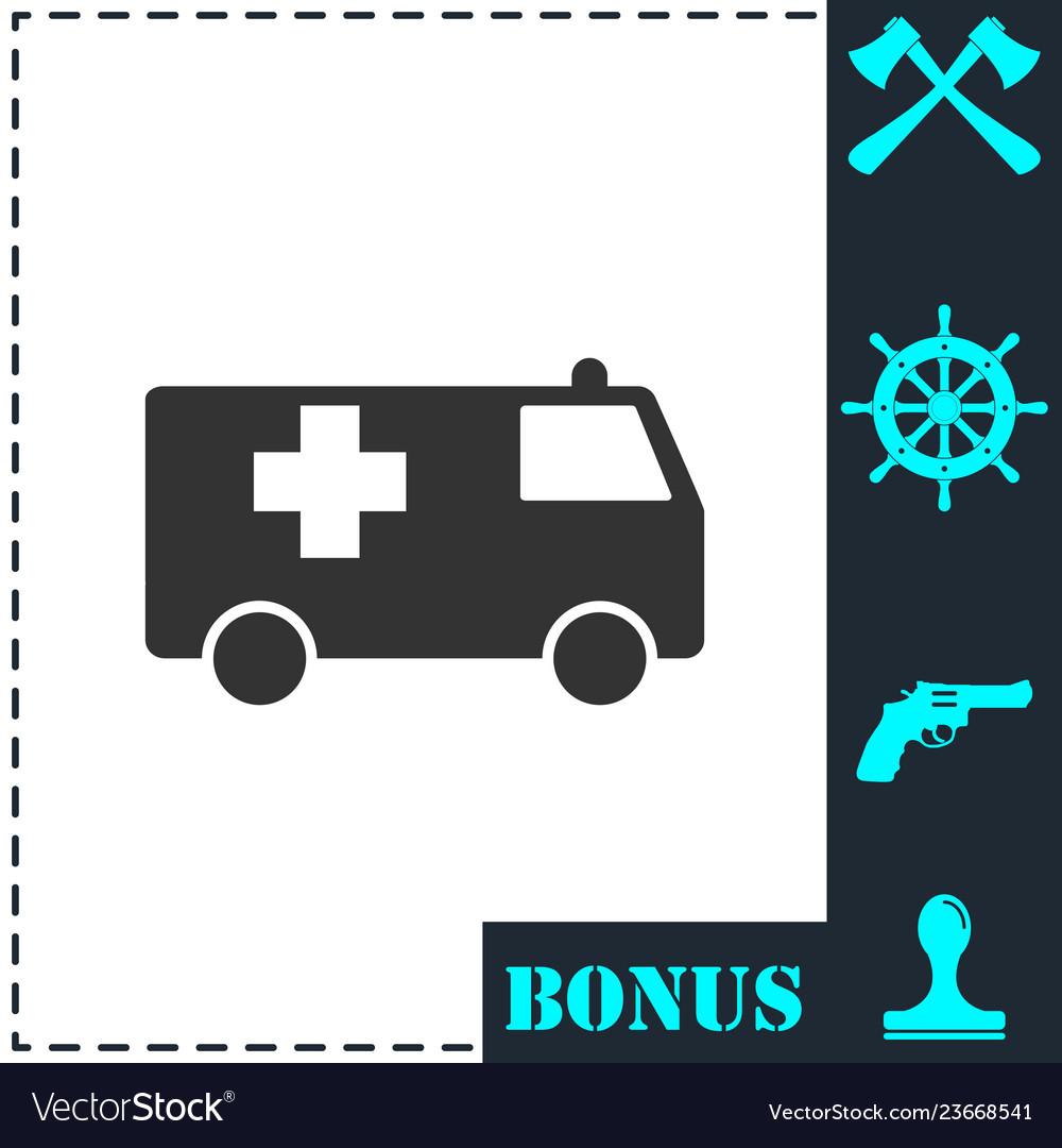 Ambulance icon flat