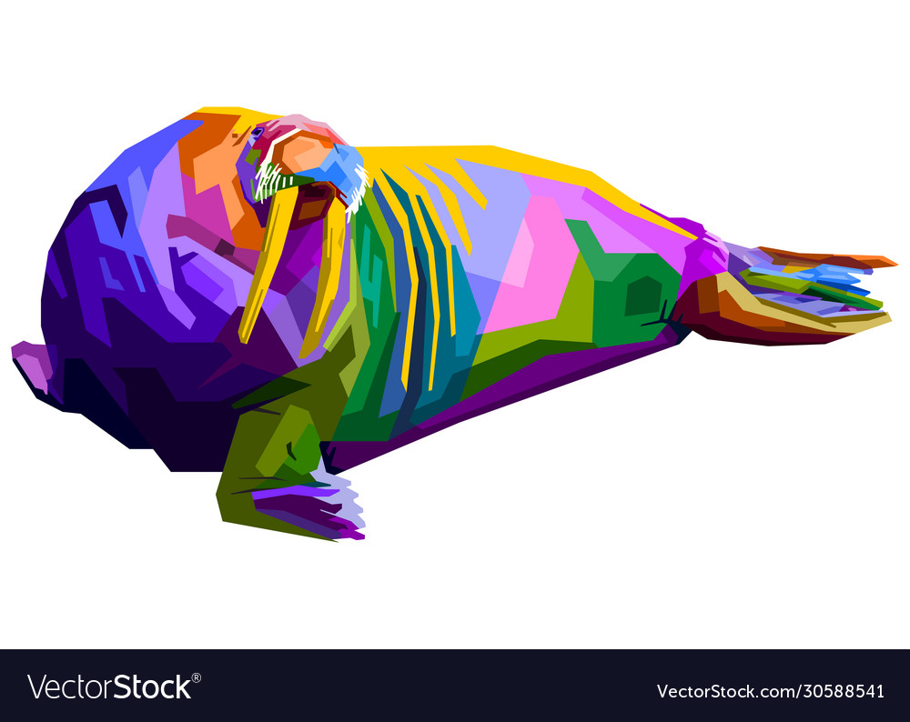 Colorful walrus pop art style isolated on white