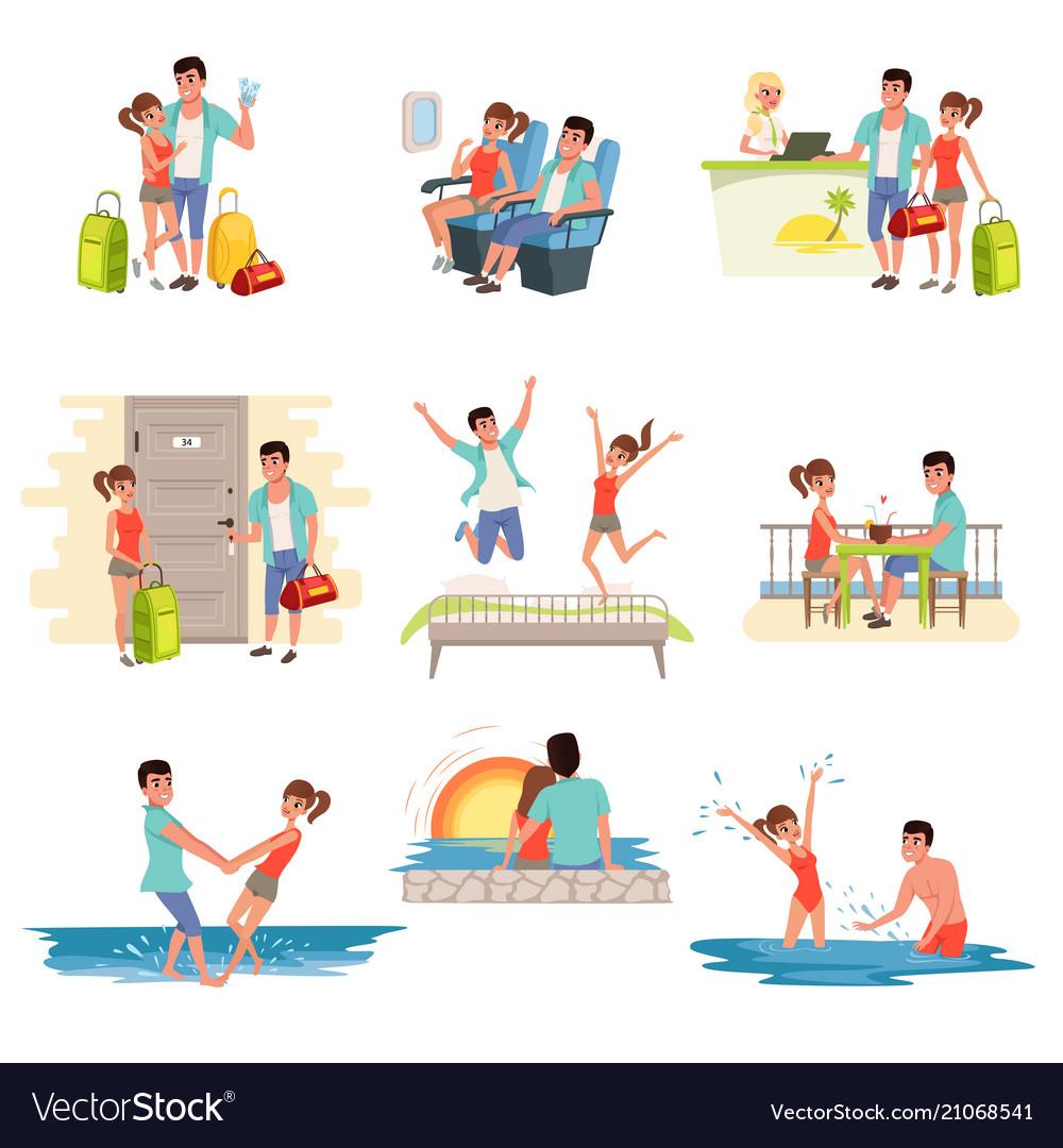 Family couple traveling on summer holidays set